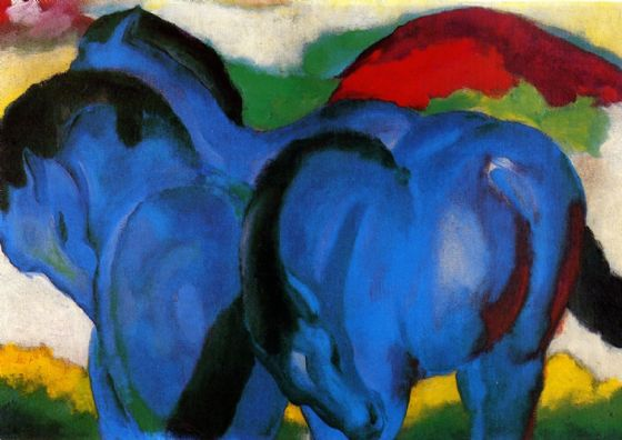 Marc, Franz: Big Blue Horses. Fine Art Animal Print/Poster. Sizes: A4/A3/A2/A1 (003308)